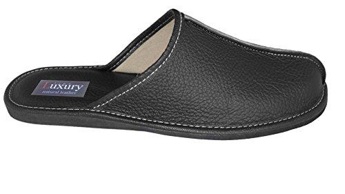 Natural Line Vera pelle da uomo pantofole, infradito, pantofole con soletta anatomica e fodera in lana. Vari colori Nero