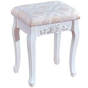 woltu tabouret de coiffeuse en panneau mdf avec tabouret de style baroque blanc laqu mb6011. Black Bedroom Furniture Sets. Home Design Ideas