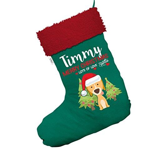 Weihnachten Hund mit Bäume personalisierbar Jumbo grün Weihnachten Strümpfe Socken mit rotem Rand (Hund Weihnachten Strumpf)