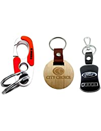 City Choice New Combo Of Ford & Omuda Hook-Locking Keychains With Free Wooden Round Keychain