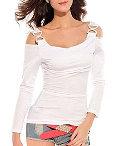 ZANZEA Damen Schulterfrei T-Shirt Stretch Bluse Langarm Top Hemd Oberteil Tunika Weiß EU 50/Etikettgröße 2XL (Stretch-bluse Shirt)