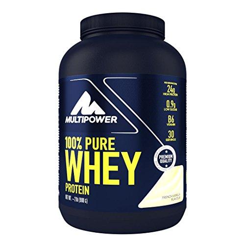 Multipower 100% Pure Whey Protein - wasserlösliches Proteinpulver mit Vanille Geschmack -  Eiweißpulver mit Whey Isolate als Hauptquelle - Vitamin B6 und hohem BCAA-Anteil - 900 g