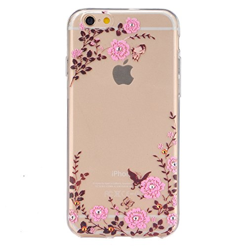 iPhone 6 Silikon Hülle,iPhone 6S Case - Felfy Ultra Slim Weicher Gel Flexible TPU Case Schutzhülle Silikon Crystal Case Durchsichtig Muster Transparent Silikon Ultradünnen Kratzfeste Handyhülle Bumper Schmetterling Rosa Blumen