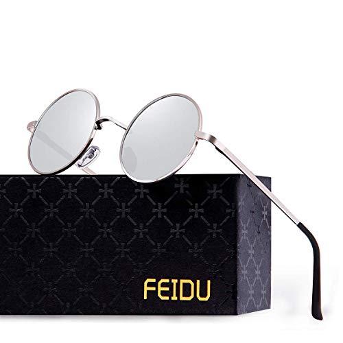 FEIDU Retro Vintage Runde sonnenbrille herren - Polarisiert mit rundem Metallrahmen,sonnenbrille damen FD 3013 (Silber, 1.81)