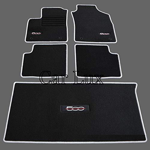 Car Lux ar01496 - kit de de Tapis de Voiture a Mesure et Coffre Edition Velours Passepoil Gris pour 500 Depuis 2013-