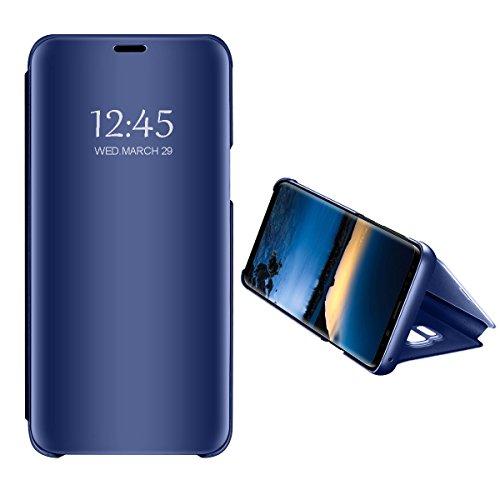 Huawei Honor 10/ Nova 2 Lite Caso Specchio, Clear View Standing Cover Flip Case Cover Custodia con Funzione Protecter Shell in Pelle Protettiva (Blu, Huawei Honor 10)
