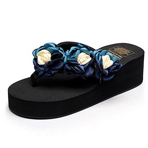 pengweiLadies Summer Comfort Semelles rembourr¨¦es antid¨¦rapantes Cool Chaussons Herringbone Drag Flowers Chaussures de plage 1
