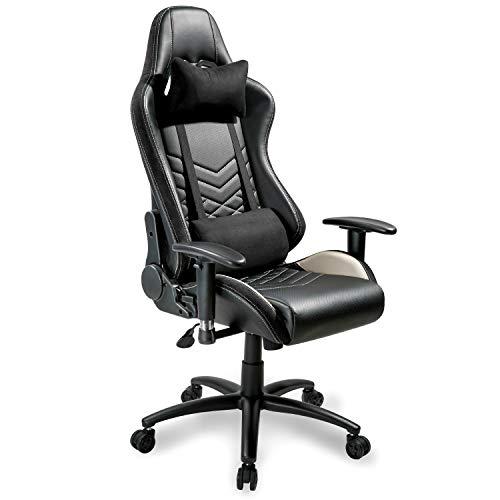 Merax Bürostuhl Schreibtischstuhl Drehstuhl Computerstuhl Chefsessel Blau/Rot/Schwarz (Schwarz 2)