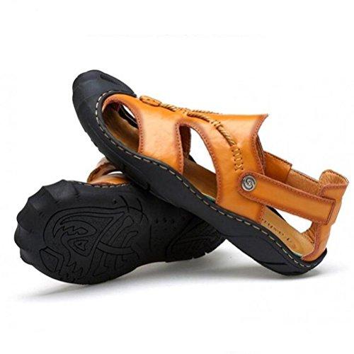Männer Leder Sport Sandalen Mode Vorderseite Paket Wasser Schuhe Sommer Soft Cowhide Beach Schuhe Khaki