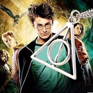 Harry Potter Deathly Hallows Rotating Triangle Necklace | Harry Potter Necklace for Girls & Boys | Harry Potter Accessories (Silver)