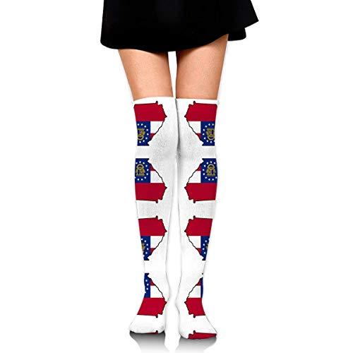 DGHKH Georgia Quilt Square Fabric (7107) Knee High Graduated Compression Socks for Unisex - Best Medical, Nursing, Travel & Flight Socks - Running & Fitness