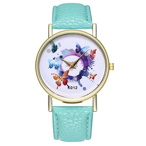 Papasgjx Armbanduhr Uhr Quarz Motive Schmetterlinge Bunte Tinte Rotierende 1 Kreis in weißem Hintergrund Dial Border Gold Farbe Armband Green Mint PU Leder Frauen (Tinte Mint)