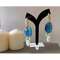 Orecchini in Argento 925 placcato Oro con Occhio di Gatto blu e Perle d'acqua dolce
