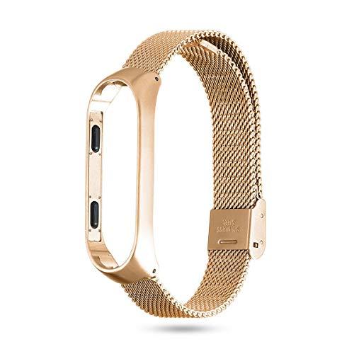 FOONEE per Xiaomi Mi 3band, acciaio inossidabile braccialetti Fit mi 3braccialetto cinturino di ricambio per Xiaomi Mi Band 3Smart Watch Wristband (oro), gold