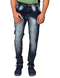Villain Men's Jeans - Polo Fit Denims For Boys - Washed Mid Rise Slim Fit Jeans - Black