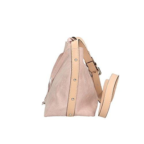 Chicca Borse Clutch Borsetta a Spalla in Vera Pelle Made in italy - 29x20x13 Cm Rosa