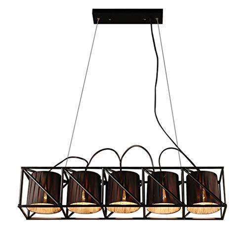 Rétro lumière pendante Plus grand armature de fer Rectangulaire lustre et ovale tissu abat-jour conception Lampe suspendue hauteur réglable 100cm table à manger lampe à suspension 5 lumières