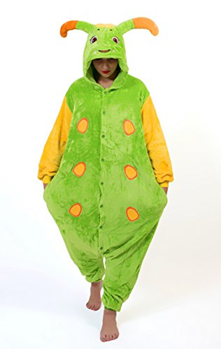 Unisex Caterpillar Raupe Onesie Kigurumi Pyjama Karneval Kostüm Maskenkostüm Kapuzenpulli Schlafanzüge L(Height 170cm-180cm)