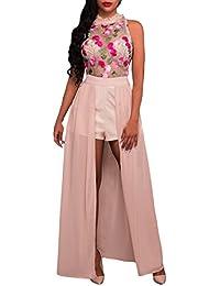 Vestidos Fiesta Mujer Elegante Vestido Verano Sin Mangas Cuello Redondo Sin  Basic Tirantes Bordado Vestidos Maxi Vestido Coctel Splice Moda… 3f6e8ddccabc