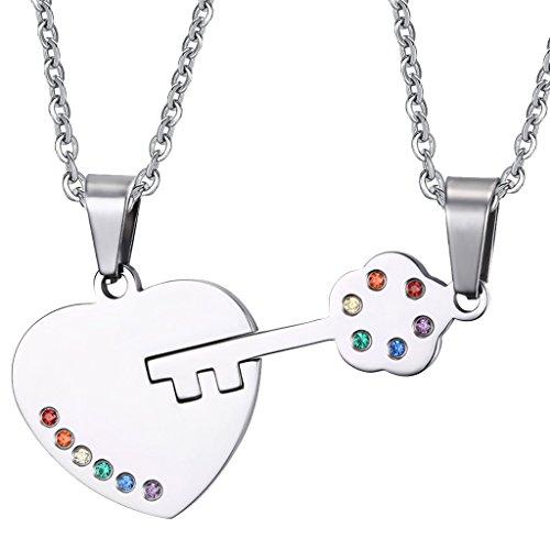 MagiDeal 1 Paar Halsketten mit Herz & Schlüssel form Anhänger bunt Kristall besetzt Mode Schmuck LGBT-Gemeinde