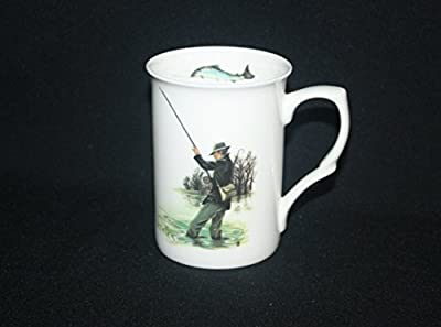 Fine Bone China Fishing Fly Fishing Trout Salmon Angling Mug Cup Gift from OAKS KABIN