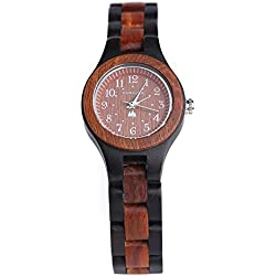 BS® Handmade Wooden Watch Analog Japanese Quartz Movement Wood Band Watch Made With Natural Red and Black Sandalwood BNS-120C