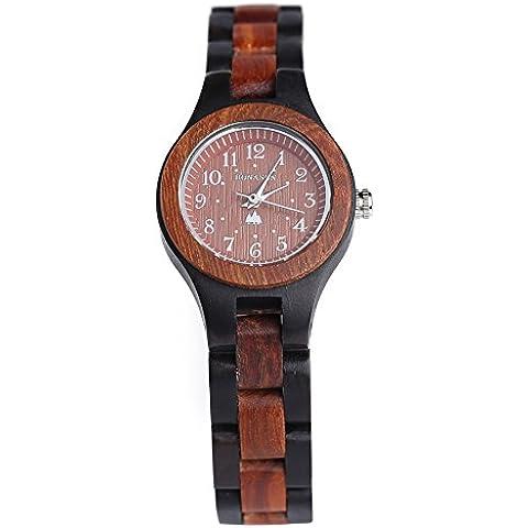 Reloj de madera hecha a mano BS® Movimiento de cuarzo japonés hecho con sándalo rojo y negro natural