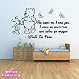 1Stop Graphics - Shop Winnie The Pooh Wall Sticker 3 - Girls Boys Baby Bedroom Quote Decal X32 - Size: Large - Colour: Black