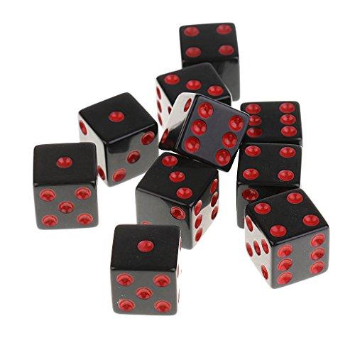Gazechimp 10 Stück Schwarz D6 Würfel-Set, 16mm - Rot schwarz Farbige Sechs-seitige Würfel