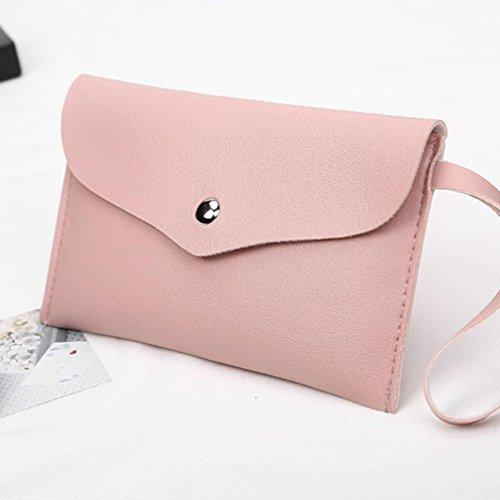 Longra Sacchetto del messaggero della borsa del telefono cellulare della borsa della moneta della borsa della moneta del modello di Lichee delle donne di colore solido Rosa