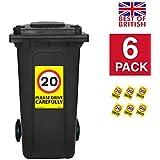 20MPH velocidad señales [6x Pack]–A4pegatinas de vinilo, fondo de color amarillo ideal para cubos de la basura