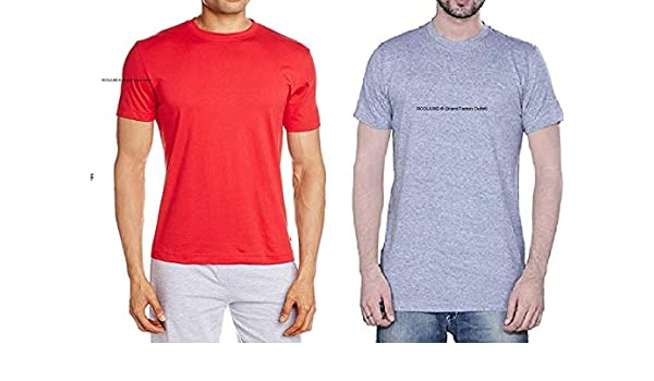 f2ab86171 Rooliums® (Brand Factory Outlet - Men's Half Sleeve Cotton Round Neck T- Shirt (Red,Gray, Large) Pack of 3: Amazon.in: Clothing & Accessories