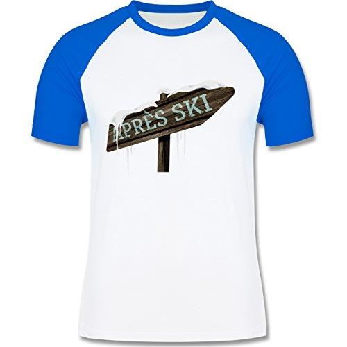 Shirtracer Après Ski - Holzschild Schnee Après Ski - Herren Baseball Shirt Weiß/Royalblau
