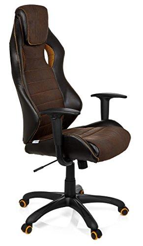 41jR65%2BveqL - hjh OFFICE 621880 RACER VINTAGE IV - Silla Gaming y oficina,  piel sintética marrón
