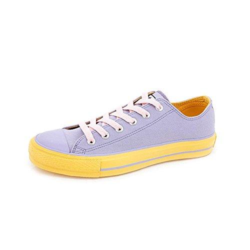Women'S Low Top Couleur Dentelle Loisirs Loisirs Et Sports Patins Toile Chaussures De Sport. Jaune Violet