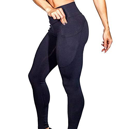 Dorical Damen Yogahose Hoher Bund Einfarbig Tasches Hosen Damen High Waist Fashion Leggings Workout Dünne Hosen lang Sport Fitness Workout Leggins für Frauen Günstig Online Sale(Schwarz,X-Large)