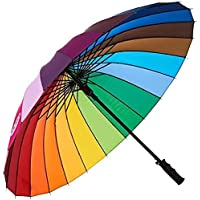 ForexZone Rainbow Umbrella Windproof Upside Down Reverse Double Layer Inside Out Folding Multicolor Polyester Umbrella…