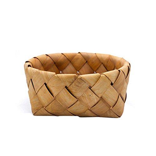 rainbabe L rund handgefertigt aus gewebtem Rattan Korb Aufbewahrung für Obst Picknick Container Korb - Picknick-korb Uk