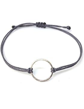 Kreis Armband Silber - Grau - Textil Armbändchen mit silbernem Kreis - größenverstellbar HANDMADE