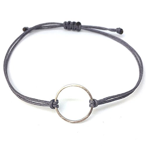 SelfmadeJewelry Kreis Armband Silber - Grau - Textil Armbändchen mit silbernem Kreis - größenverstellbar Handmade - Silber Kreise
