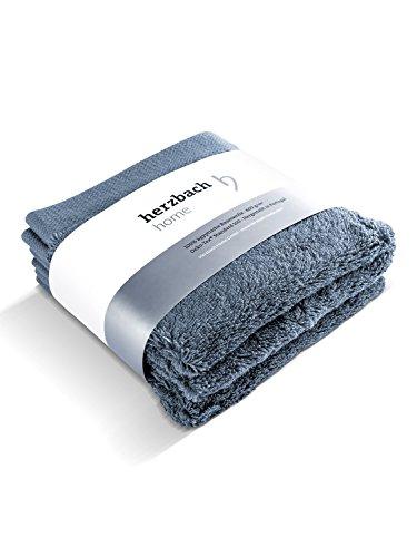 herzbach home Luxus Handtuch Seiftuch 3er-Set Premium Qualität aus 100% ägyptischer Baumwolle 33 x 33 cm 600 g/m² extra weich (Graublau)
