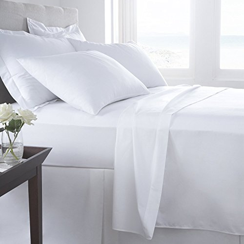 [hachette] SINGLE SIZE WHITE 100% EGYPTIAN COTTON FITTED SHEET IN 200 THREAD COUNT 200TC PLAIN