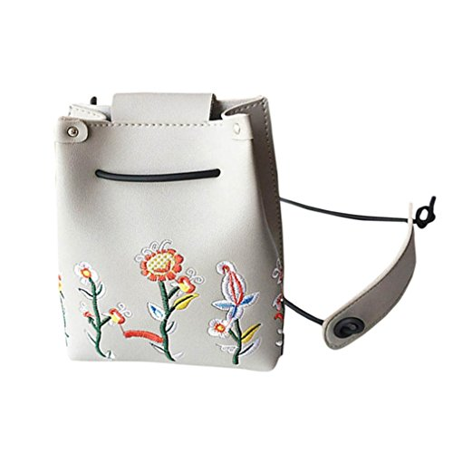 TPulling Frauen-Neue Art- Und Weisefeste Dame Blume Stickerei Kleine Eimer Tasche Messenger Tasche Umhängetasche Grau