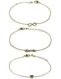 """SIX """"Basic"""" 3er Set Damen filigrane Freundschafts Armbänder Armschmuck Gliederkette mit Herz, Love und Infinity Unendlichkeit Anhänger gold (748-006)"""