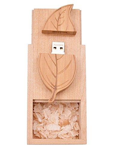 FEBNISCTE Holz-Blatt 16GB USB2.0 Stick Flash Drive Mit Holzkiste
