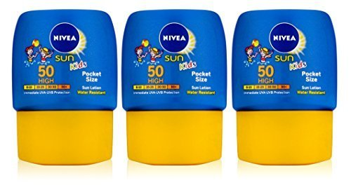 3x Nivea Sun Kids Lotion SPF50 High Pocket Size 50ml by Nivea