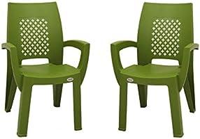 Supreme Villa Esquire Plastic Chairs for Home, Outdoor & Garden (Set of 2, Mehandi Green)
