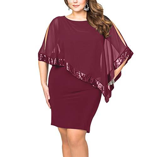 Ancapelion Damen Kleid Ärmellos Minikleid Chiffon Cocktailkleid Pailletten Pencil Partykleid Lässige Kleidung Abendkleid Frauenkleid Kleid für Frauen, Rot-Übergröße, 2XL(EU 48-50) - Elegante Sexy Kleider