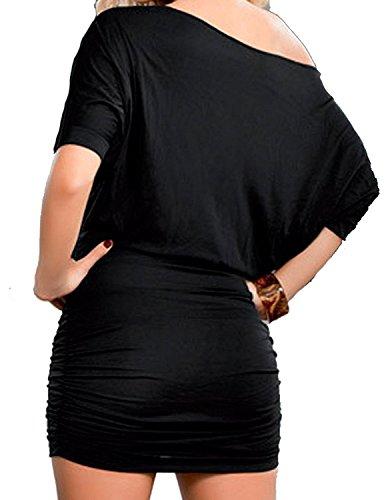 Minetom Femmes Été Automne Demi Manche Sexy Épaule Inclined Cocktail Élégant Hip Dress Jupe Crayon Noir