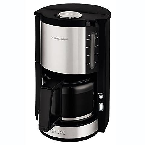 Krups km321Proaroma Plus Machine à Café en Verre, 10tasses, 1100W, design moderne, Noir avec applications en acier inoxydable